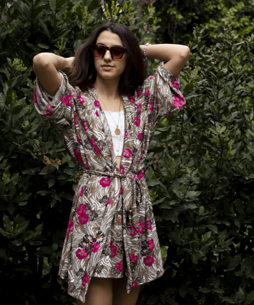 Çiçekli Kimono Takım
