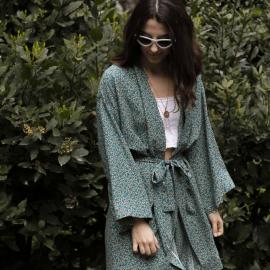 Şal Desenli Yeşil Kimono